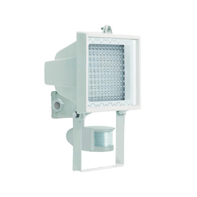 130 led 230v 9watt au enlampe au enleuchte strahler mit bewegungsmelder wei. Black Bedroom Furniture Sets. Home Design Ideas