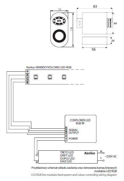 kanlux sa - o u015bwietlenie - controller led rgb-rf